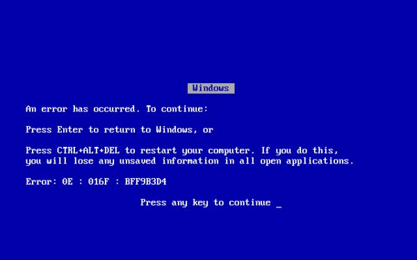 Синий экран смерти Windows 95/98/ME